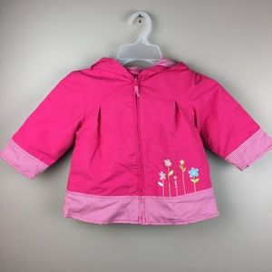 Carters pink rain jacket soft flannel lining 2T